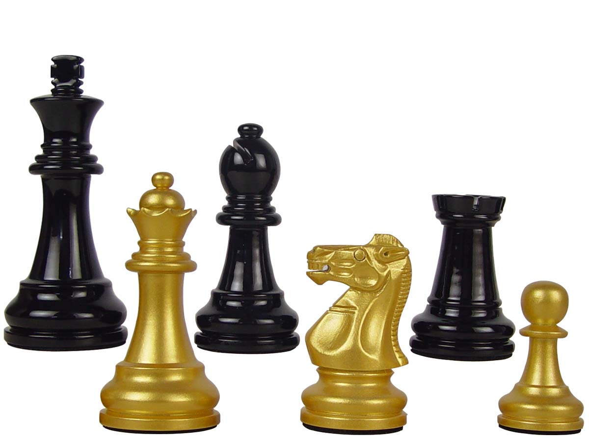 "Premier Wooden Chess Set Pieces Empire Staunton King Size 3-3/4"" Gold/Black Color"