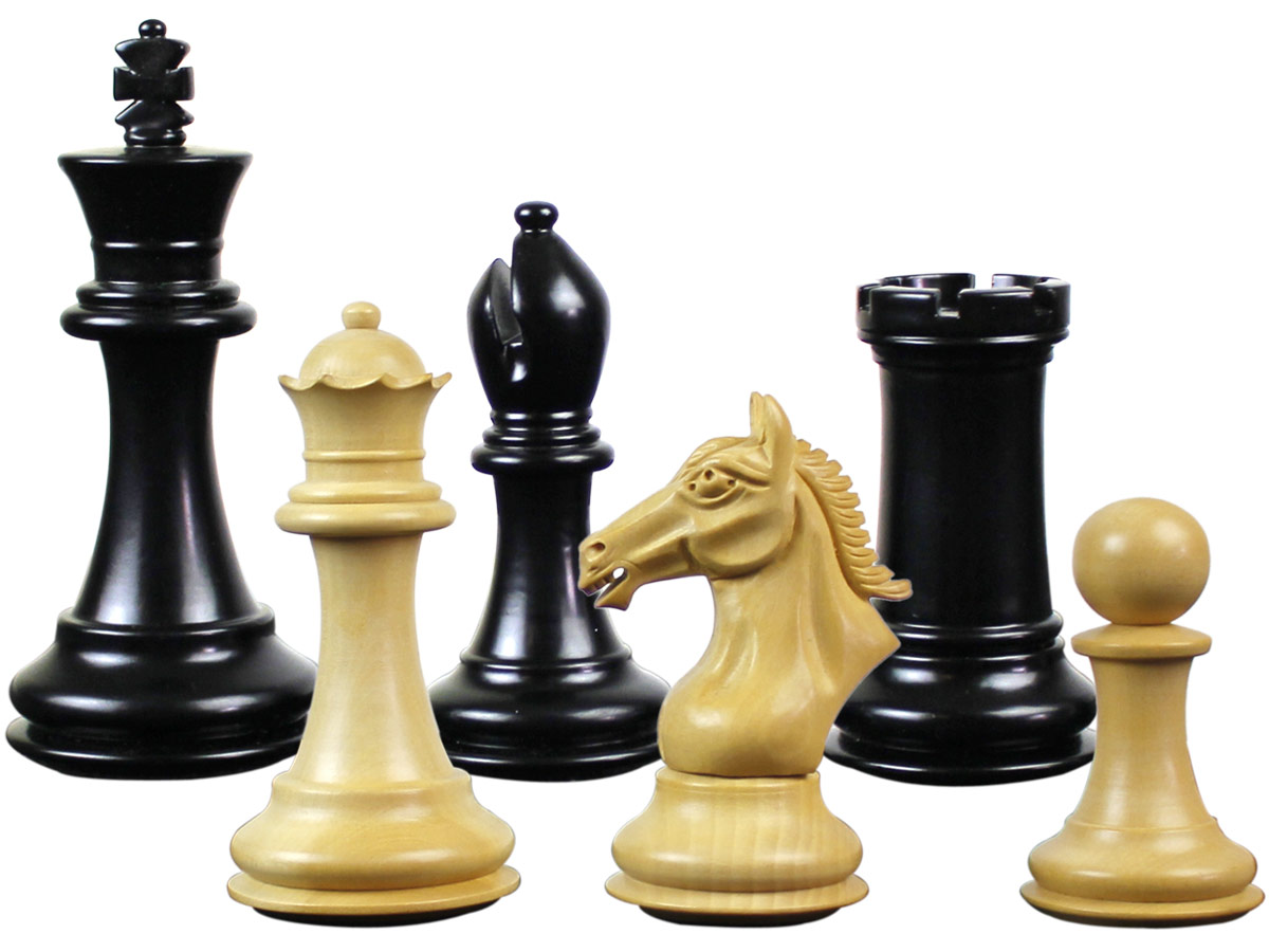 "Derby Knight Staunton Premier Chess Set Pieces King Size 4"" Ebonized/Boxwood"
