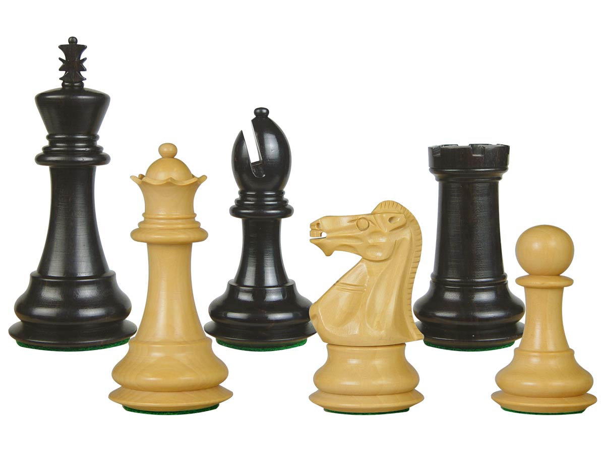 "Wooden Tournament Chess Pieces Regal Staunton 3-3/4"" Ebony/Boxwood"