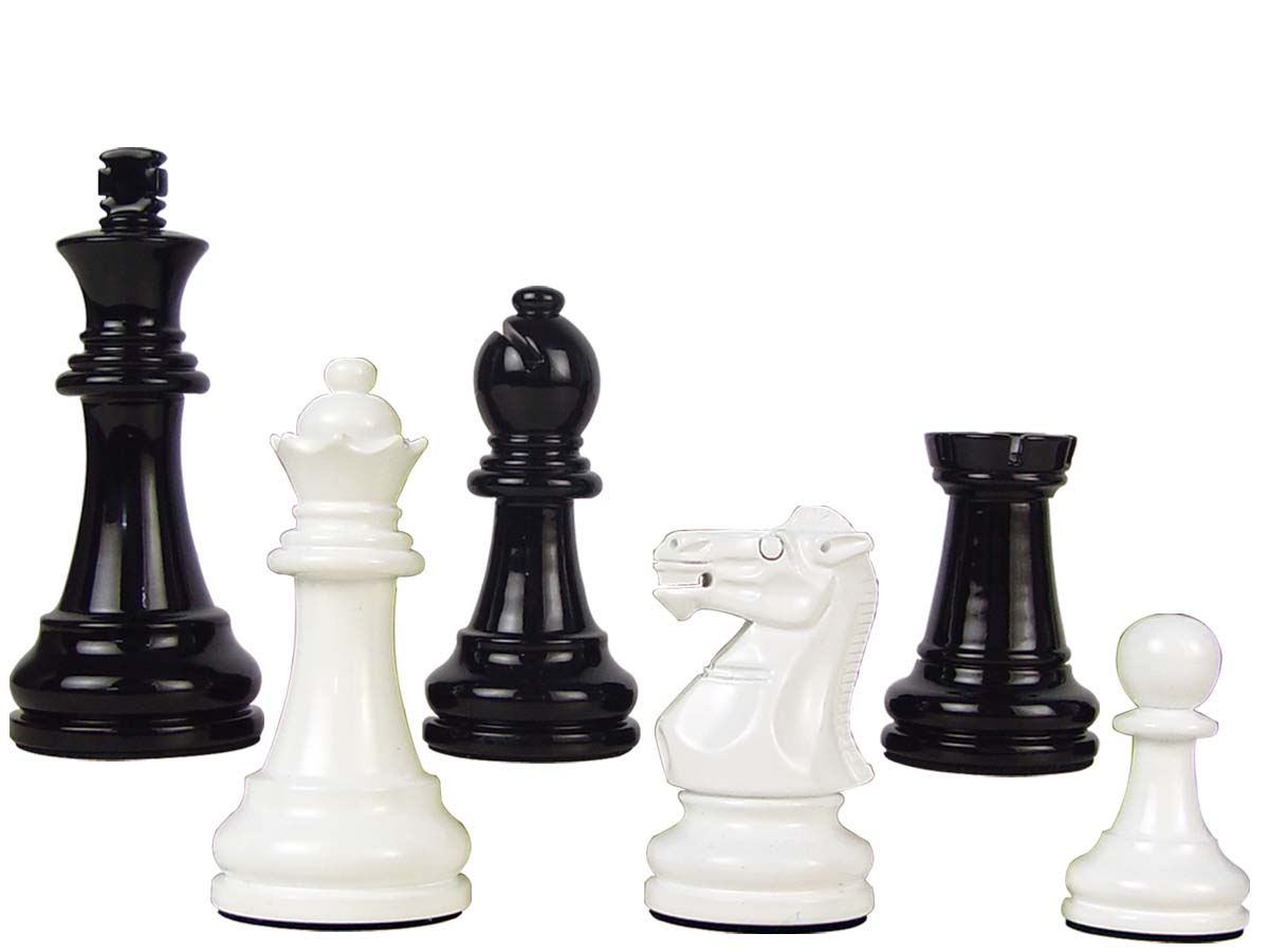 "Premier Wooden Chess Set Pieces Empire Staunton King Size 3-3/4"" Black/Ivory Color"