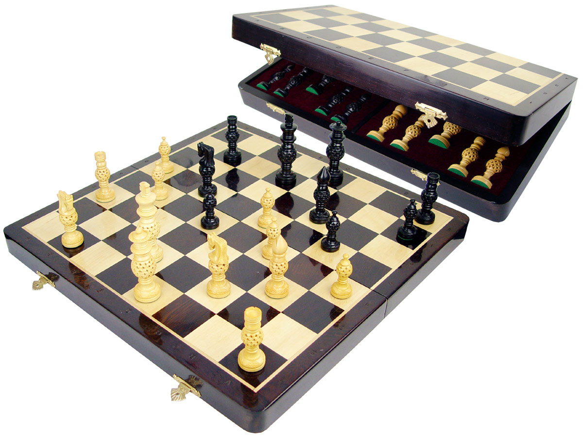 "Globe Design Artistic Ebonized Chess Set Pieces 4"" & 18"" Folding Chess Board with Algebraic Notations Wenge Wood/Maple"