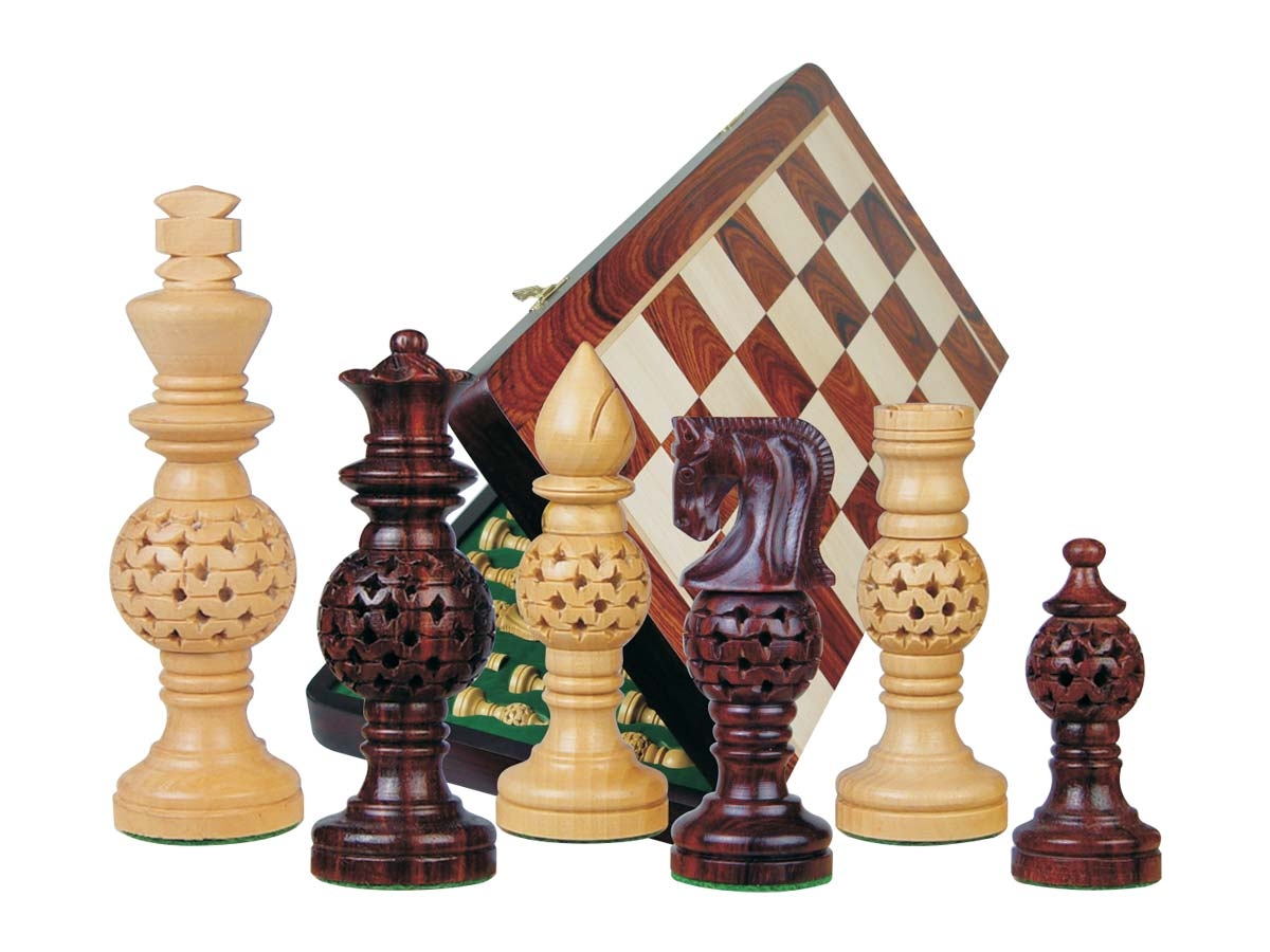 "Globe Design Artistic Chess Set 4"" & 18"" Folding Chess Board Rosewood/Maple"