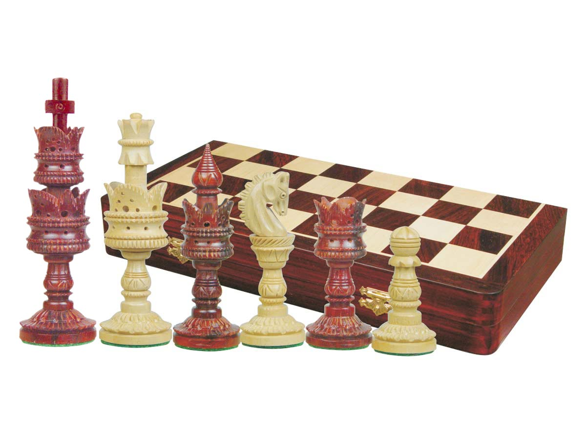 "Lotus Design Artistic Chess Set Pieces 5-1/2"" & 20"" Folding Board/Box Rosewood/Maple"