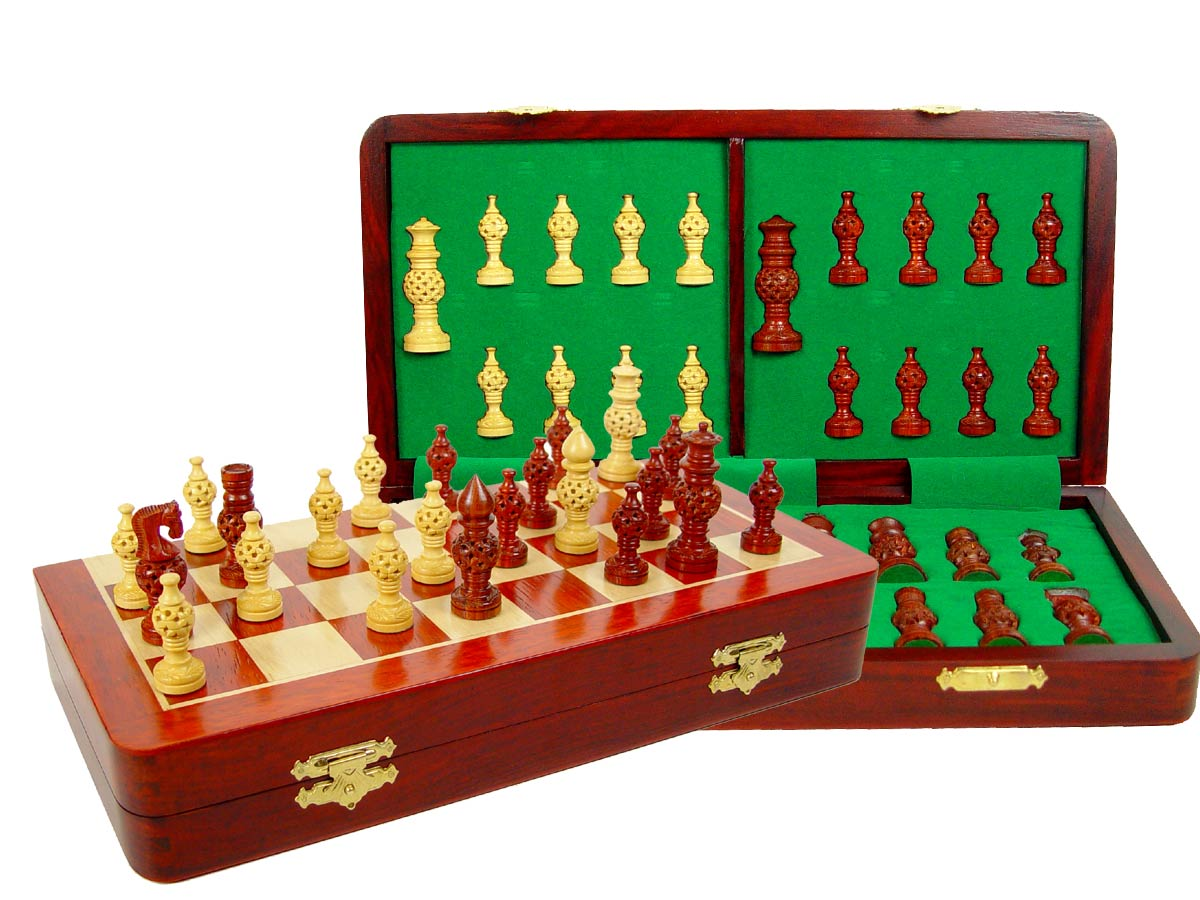 "Globe Design Artistic Chess Set 3"" & 14"" Folding Chess Board Blood Wood/Maple"
