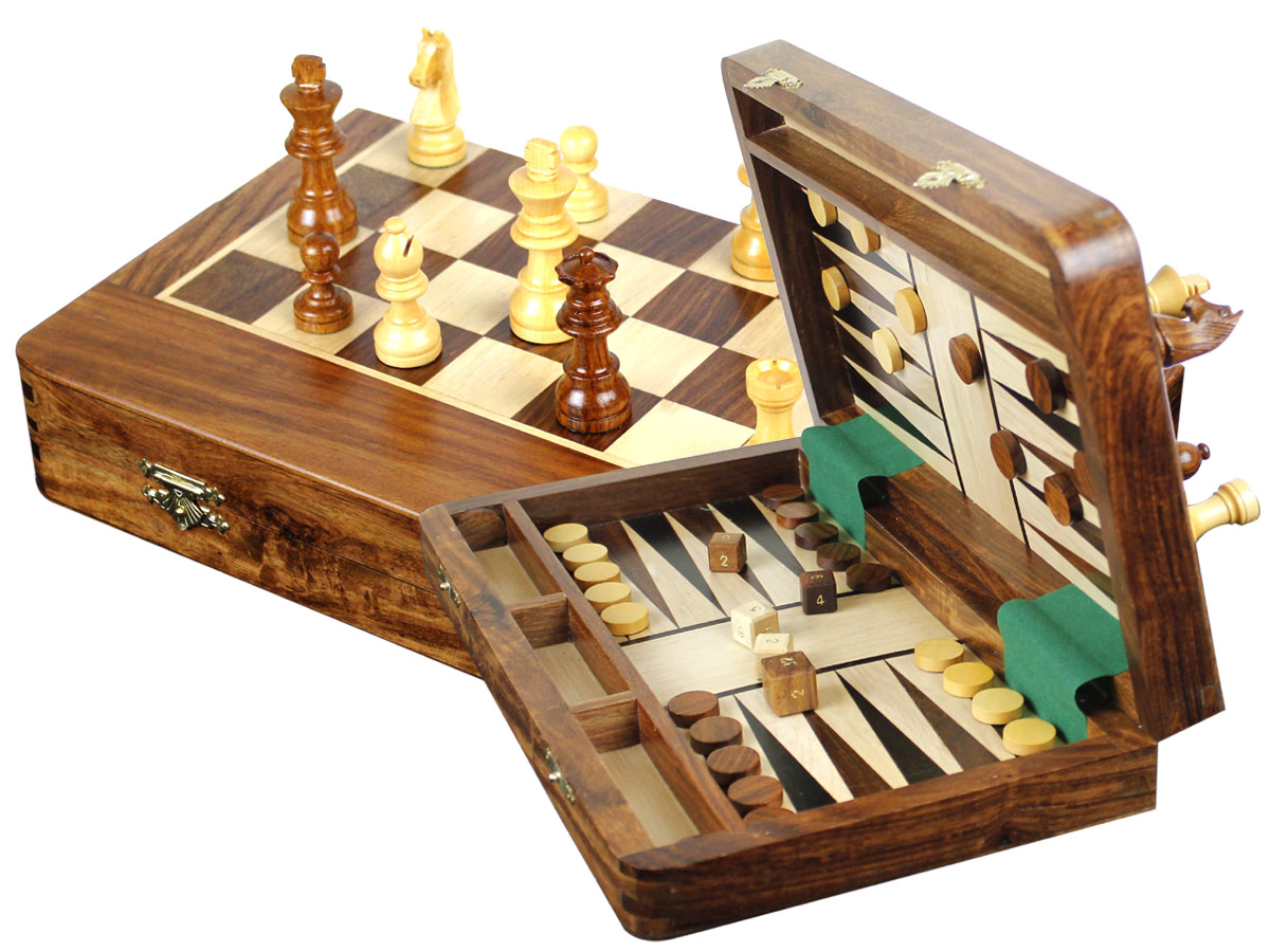 "Wood Magnetic Travel Chess Set & Backgammon Combo Folding 12""x7"" Wide Bordered Golden Rosewood/Maple"