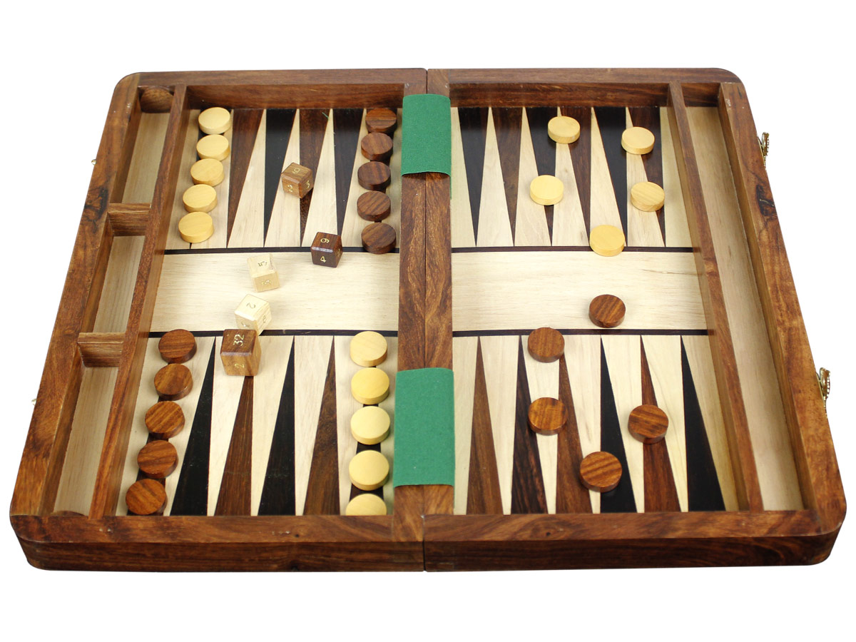 Inlaid Backgammon Board with Checkers and dice