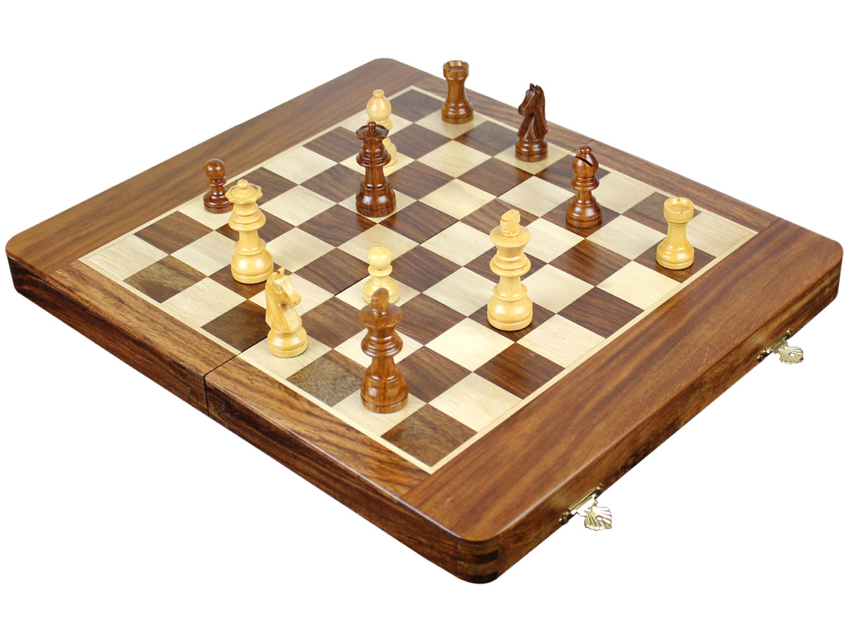 Fully open Chess Board with Chess Pieces on top