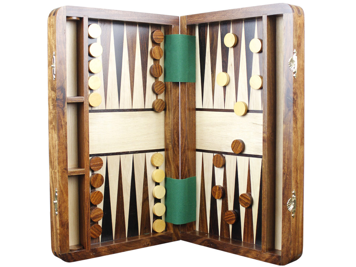 Inlaid magnetic backgammon board with checkers attached