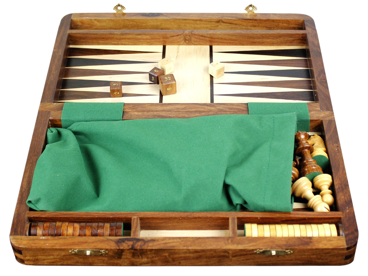 Chess pieces packed in green velvet cloth with checkers in place