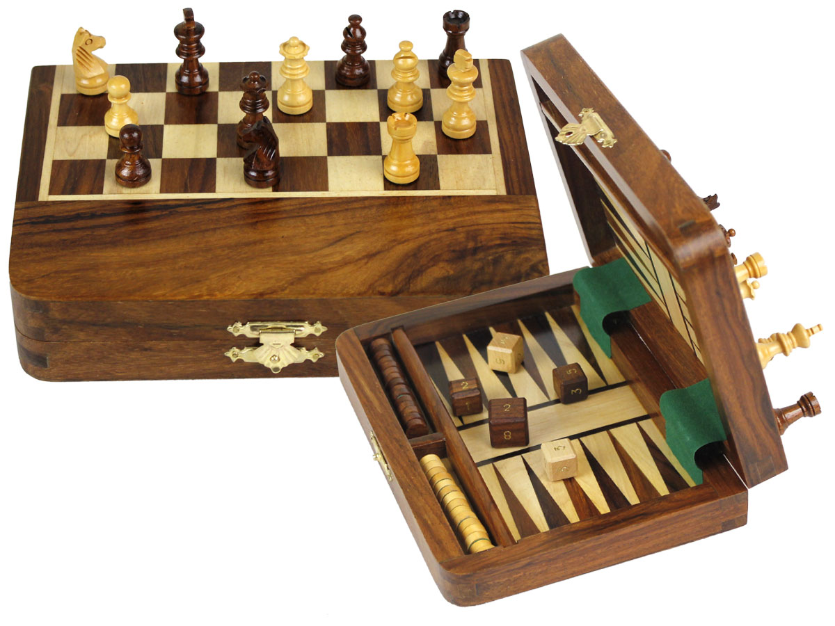 "Folding Travel Magnetic Chess Set & Backgammon Combo 7""x5"" Golden Rosewood/Maple"
