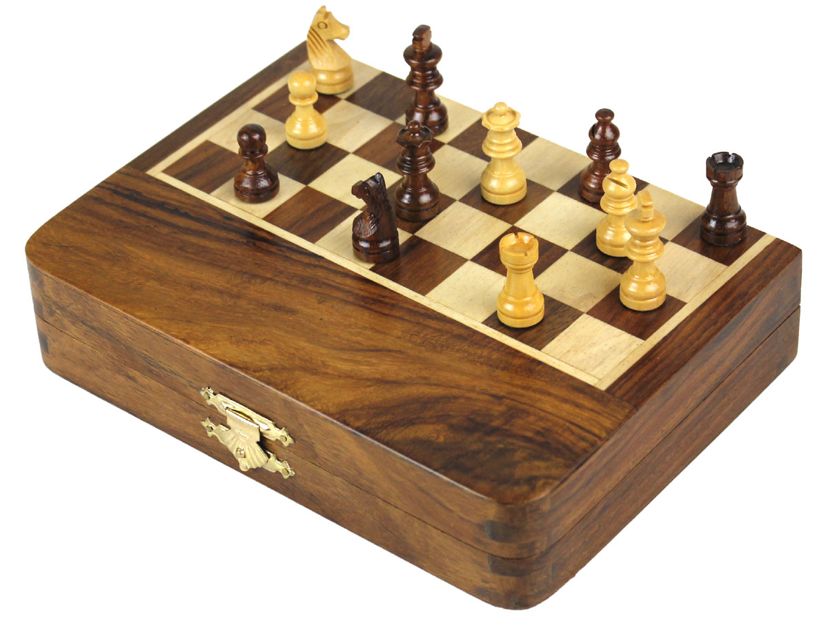 Folded Chess Box with Pieces on board