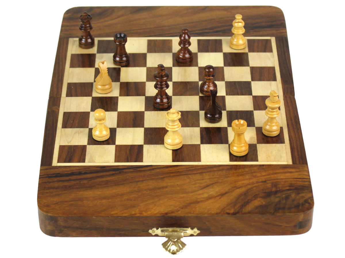 Front view of magnetic chess set