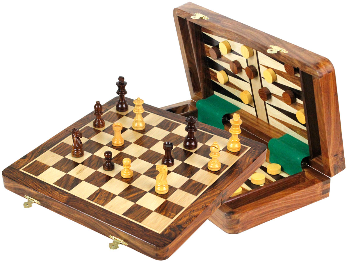 "Wood Magnetic Travel Chess Set & Backgammon Combo Folding 12"" Golden Rosewood/Maple"