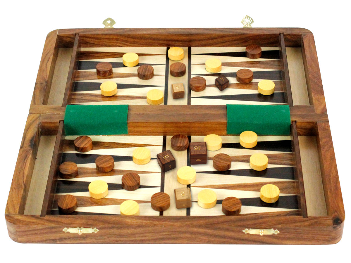 Folding inlaid backgammon with checkers and dice