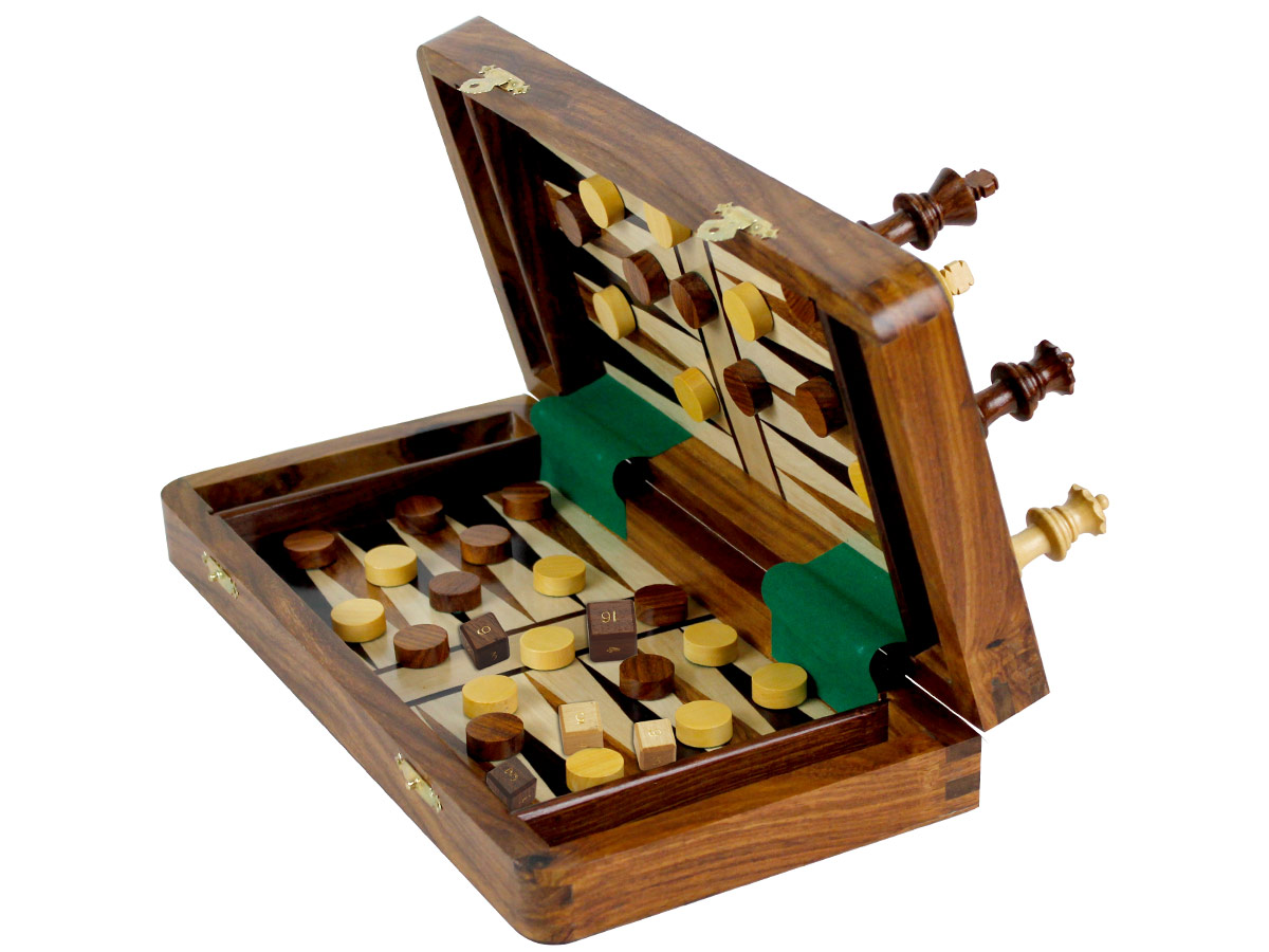 Magnetic Chess Pieces and backgammon checkers attached to board