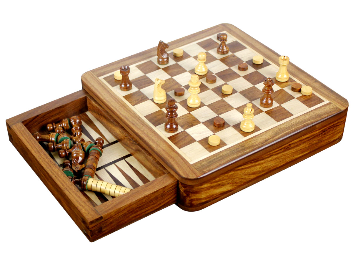 Magnetic Chess Backgammon Combo Drawer