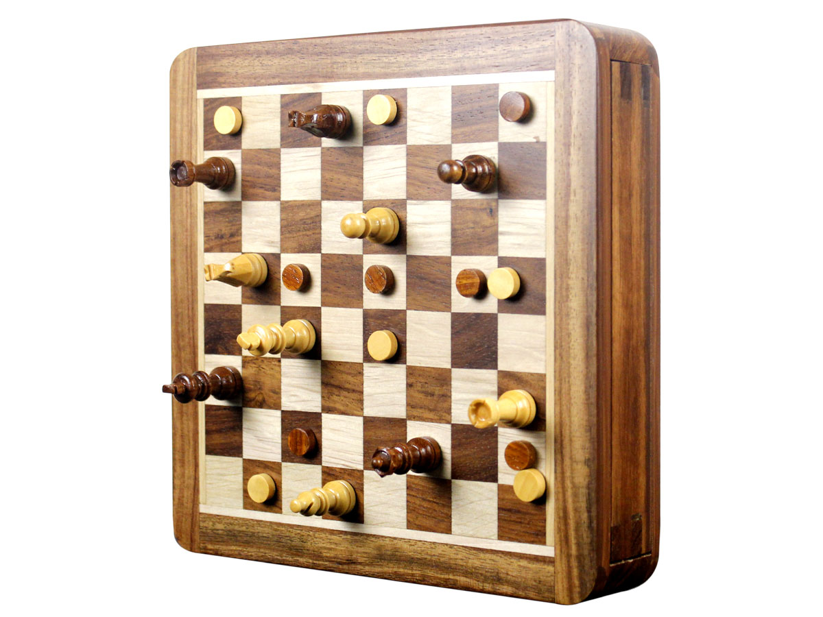 Upright standing view of magnetic chess set