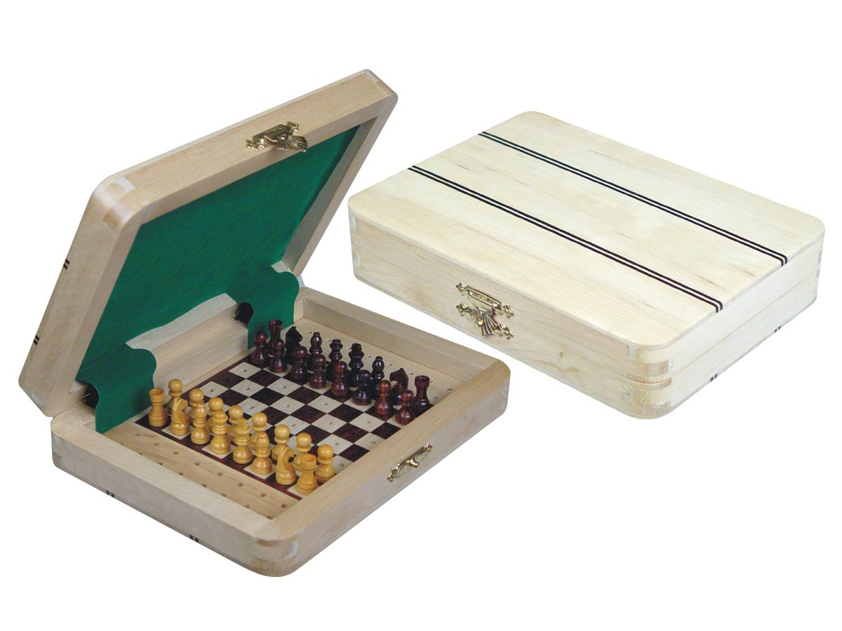 "Ebony Inlaid Wood Top Travel Pegged Chess Set 7""x5"" White Maple"