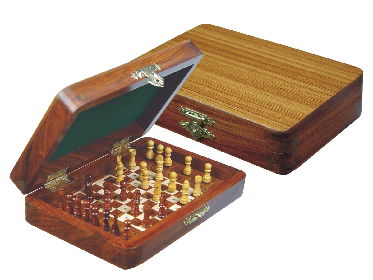 "Wood Pegged Chess Set Inlaid Board Inside & Pieces Golden Rosewood/Maple 6""x4"""