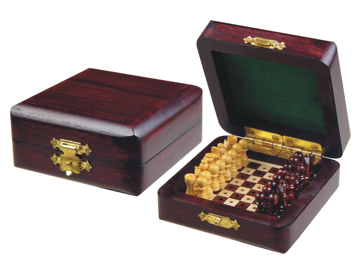 "Miniature Chess Set Wooden Pegged Board Inside Rosewood/Maple 3""x3"""