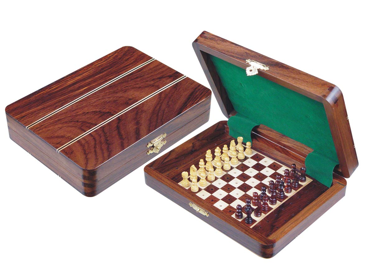"Travel Pegged Chess Set Inlaid Wood Top Board Inside Rosewood/Maple 8""x6"""