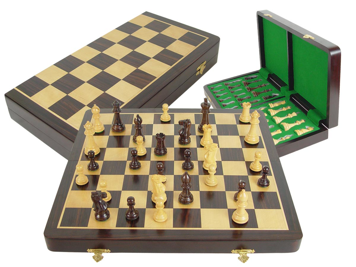"Tournament Chess Set Regal Staunton 3-3/4"" & Wooden Folding Chess Board 18"" Rosewood/Maple"