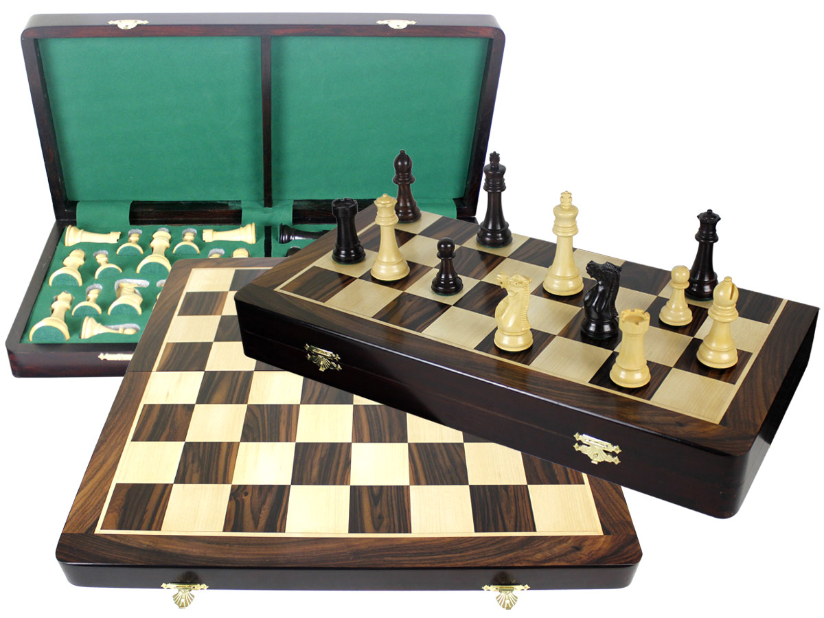 "Premier Chess Set Board & Pieces Imperial Staunton King Size 4"" with 20"" Folding Board/Box Rosewood/Maple"