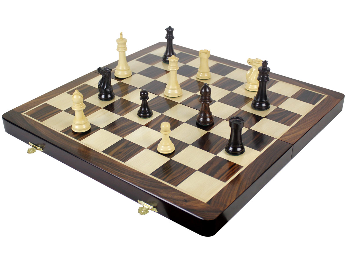 Fully open chess board with imperial staunton chess pieces