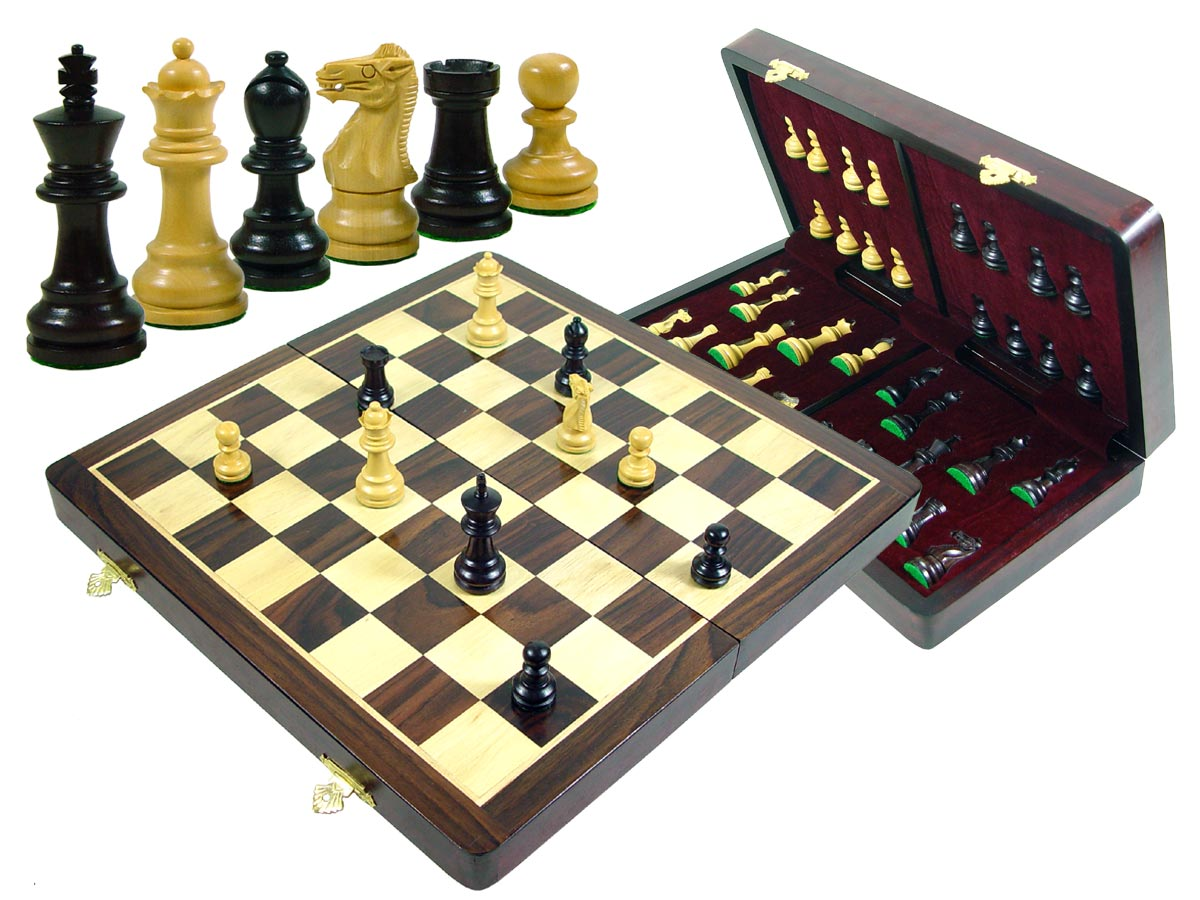 "Wood Chess Set Monarch Staunton King Size 2-7/8"" & 15"" Folding Chess Board/Box Rosewood/Maple"