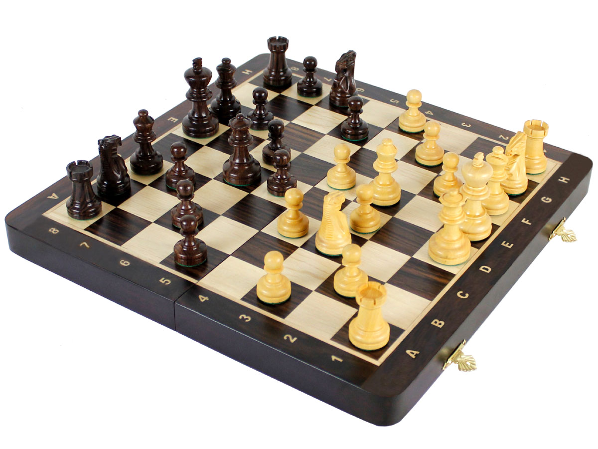 Fully open rosewood chess board with chess pieces