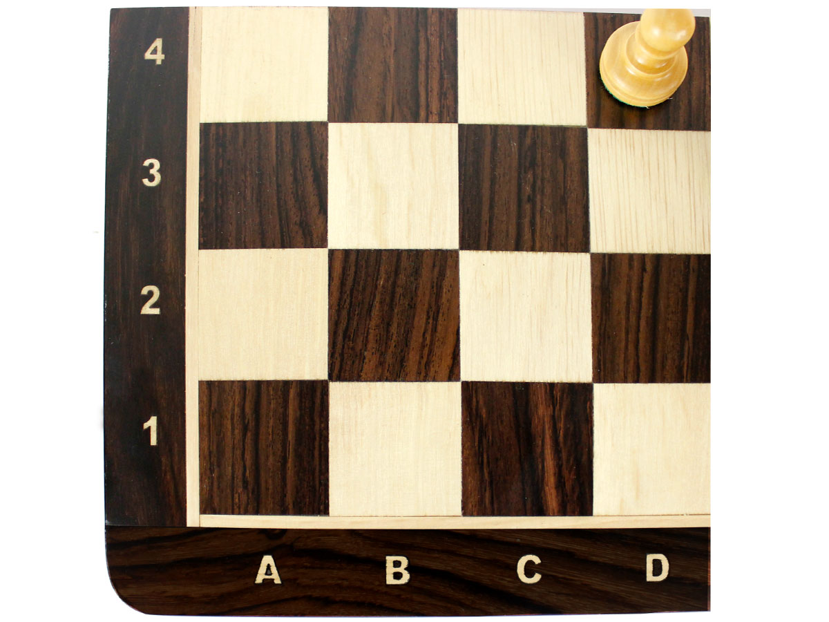 Close up view of chess board with inlaid algebraic notations