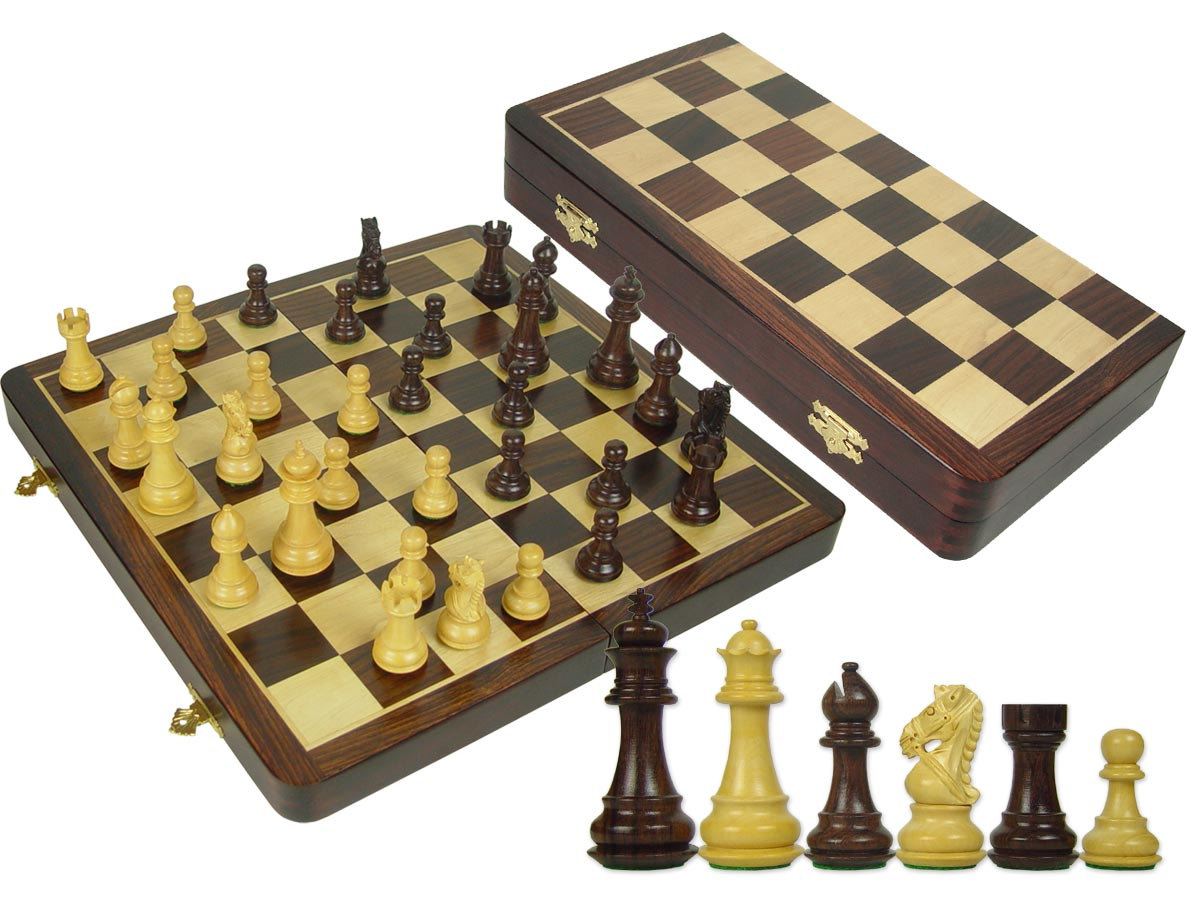 "Premier Chess Set Royal Knight Staunton 3-1/2"" & Wooden Folding Chess Board 16"" Rosewood/Maple"