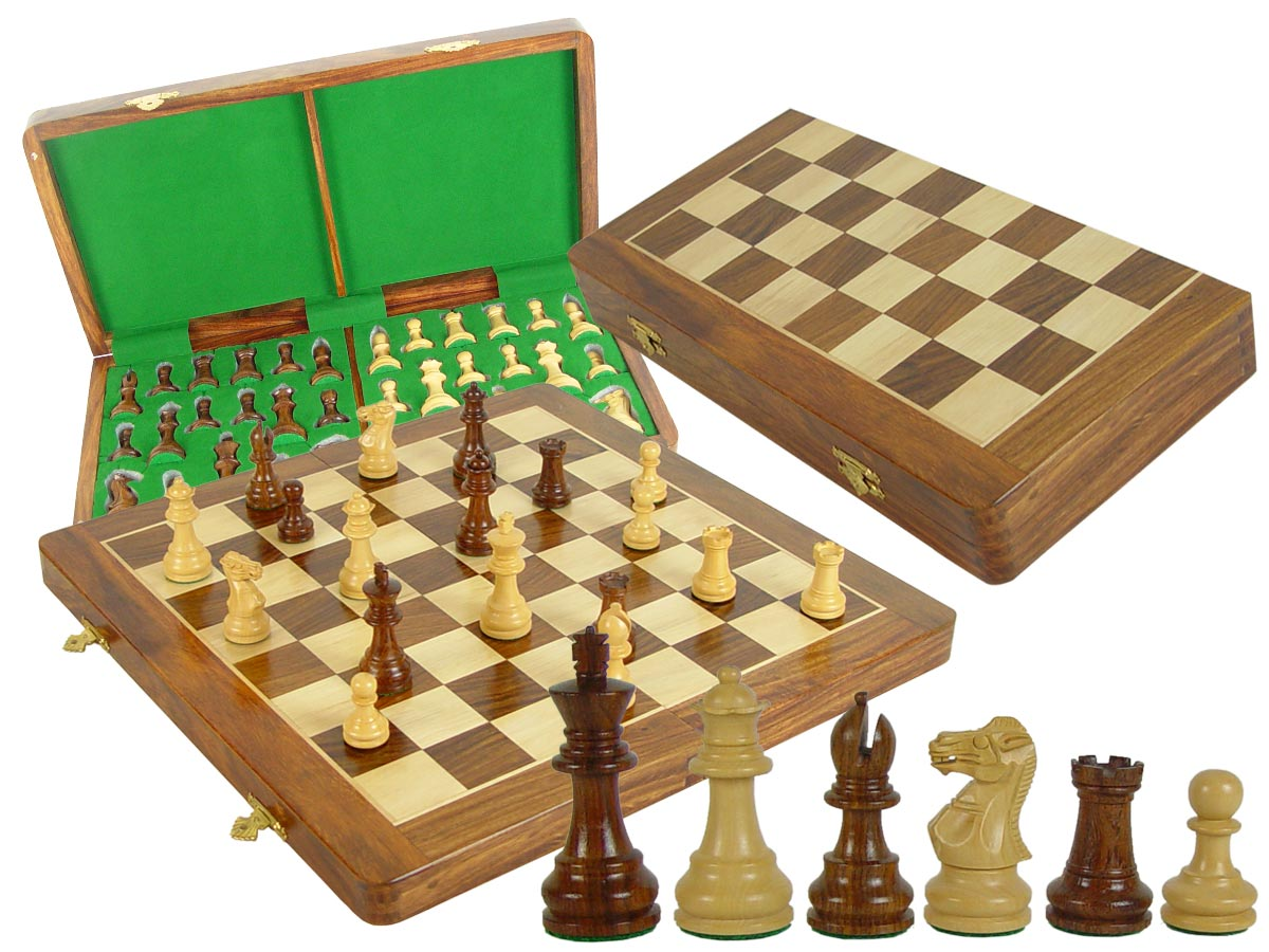 "Wood Chess Set Monarch Staunton 3"" & Folding Chess Board 17"" with Box Golden Rosewood/Maple"