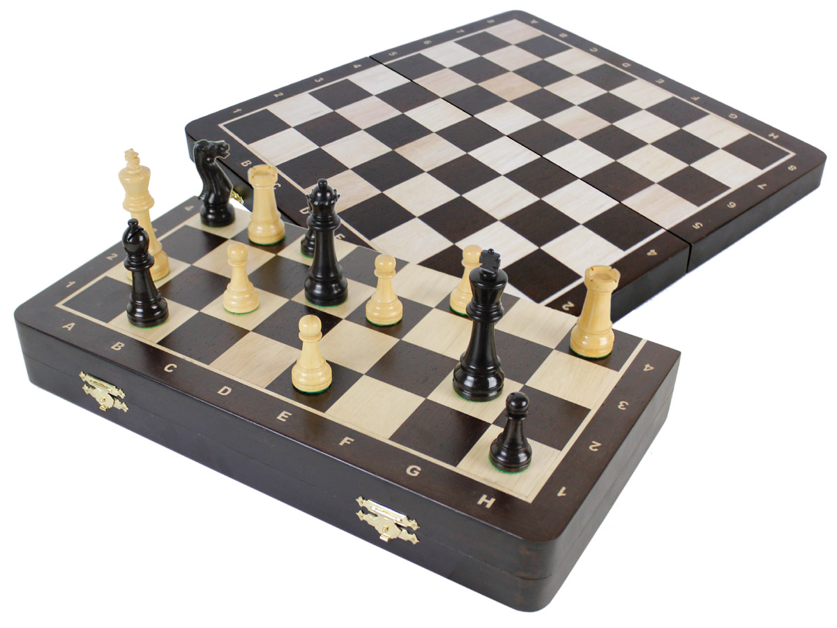 "Laughing Knight Staunton Ebony Chess Pieces & 16"" Folding Wenge Wood Board with Inlaid Maple Algebraic Notations"