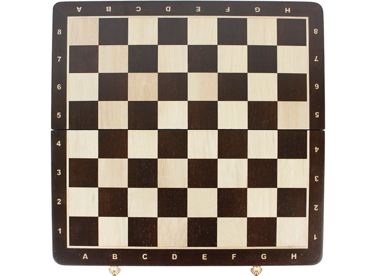 Top view of chess board with inlaid algebraic notations
