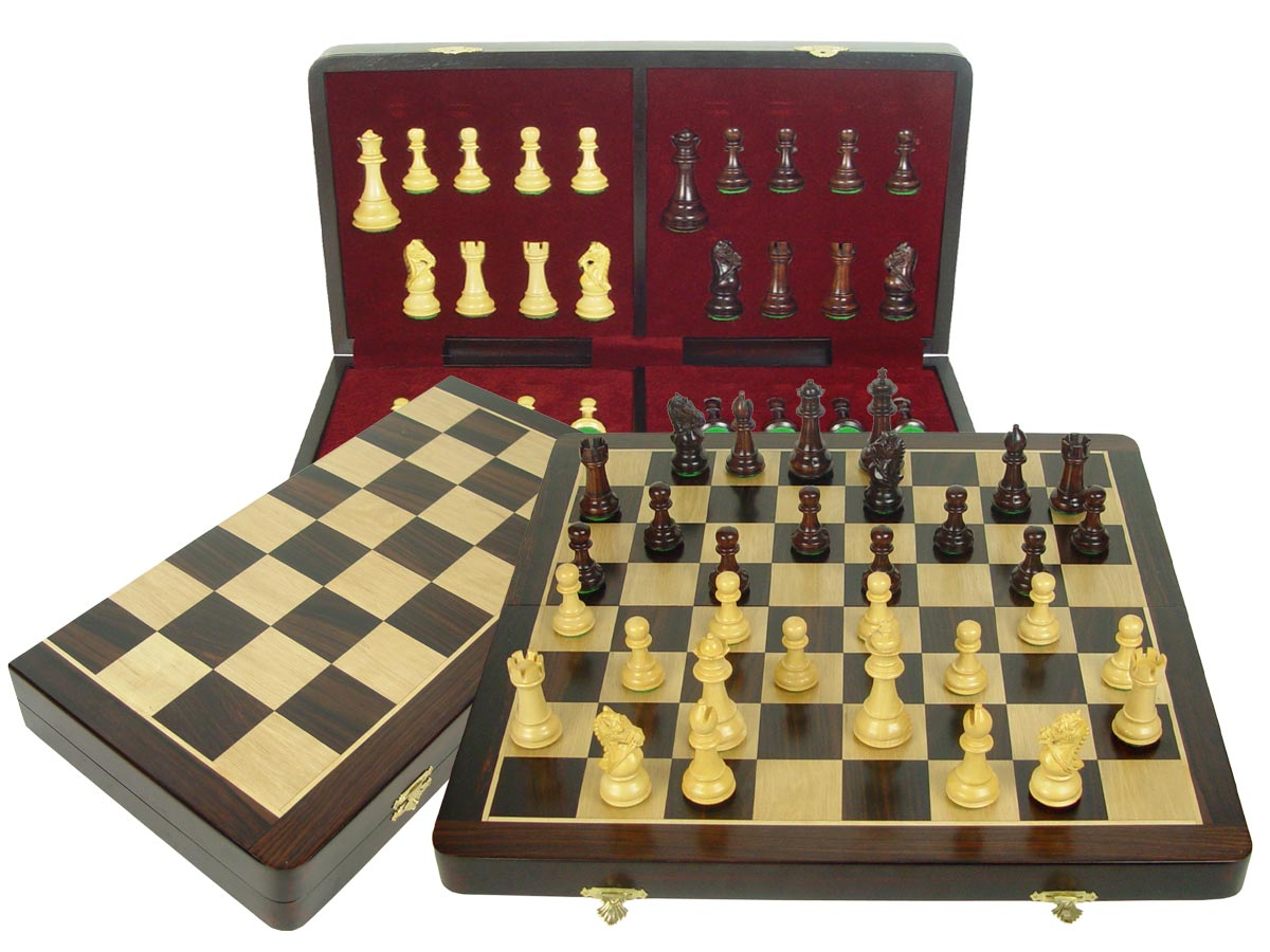 "Premier Chess Set Royal Knight Staunton 3-3/4"" & Wooden Folding Chess Board 20"" Rosewood/Maple"