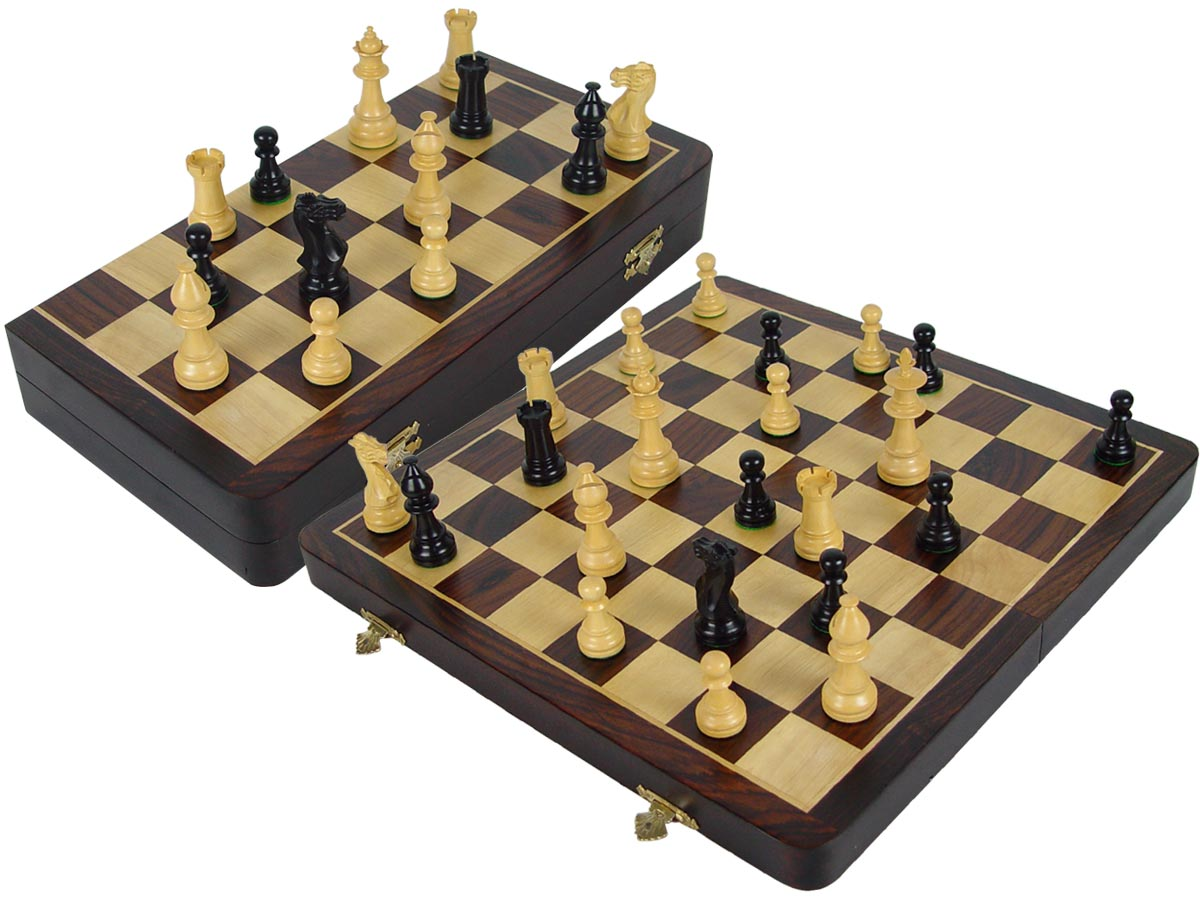 "Ebony Wood Chess Set Victorian Staunton 3-1/2"" & 16"" Folding Chess Board/Box Rosewood/Maple"