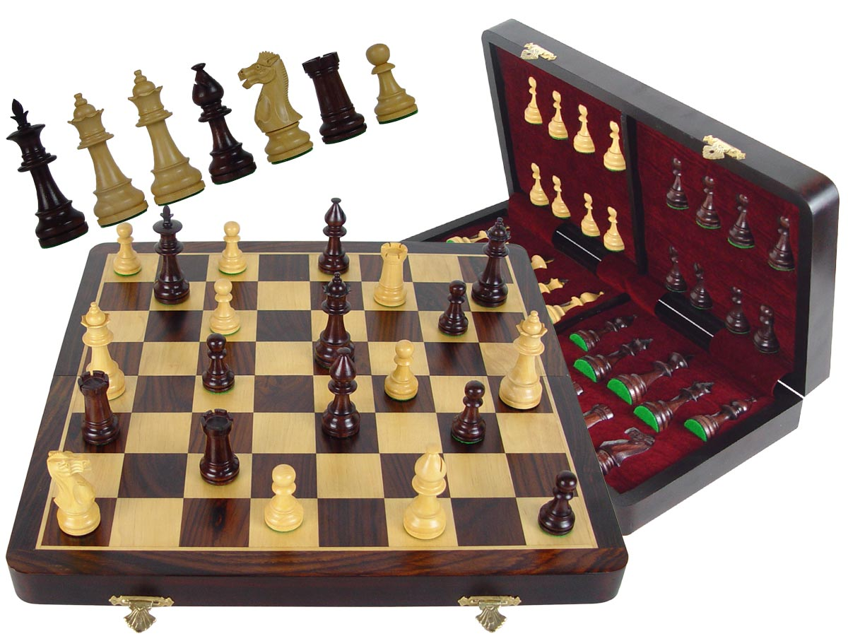 "Wood Chess Set Victorian Staunton 3-1/2"" & 16"" Folding Chess Board/Box Rosewood/Maple"