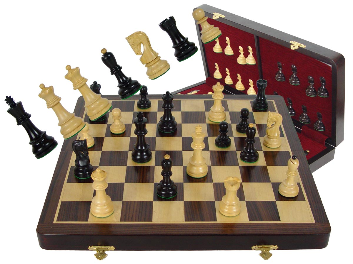 "Premier Chess Set Yugo Staunton 3-3/4"" Ebony Wood & 18"" Folding Chess Board and Box Rosewood/Maple"