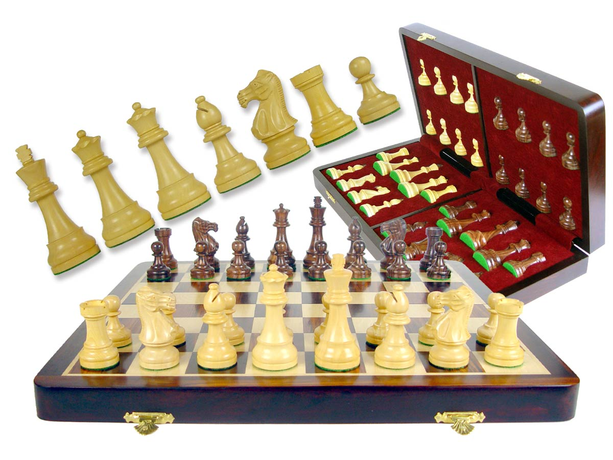 "Wooden Chess Set Board & Pieces Popular Staunton 3"" + 16"" Folding Chess Board/Box in Rosewood/Maple"