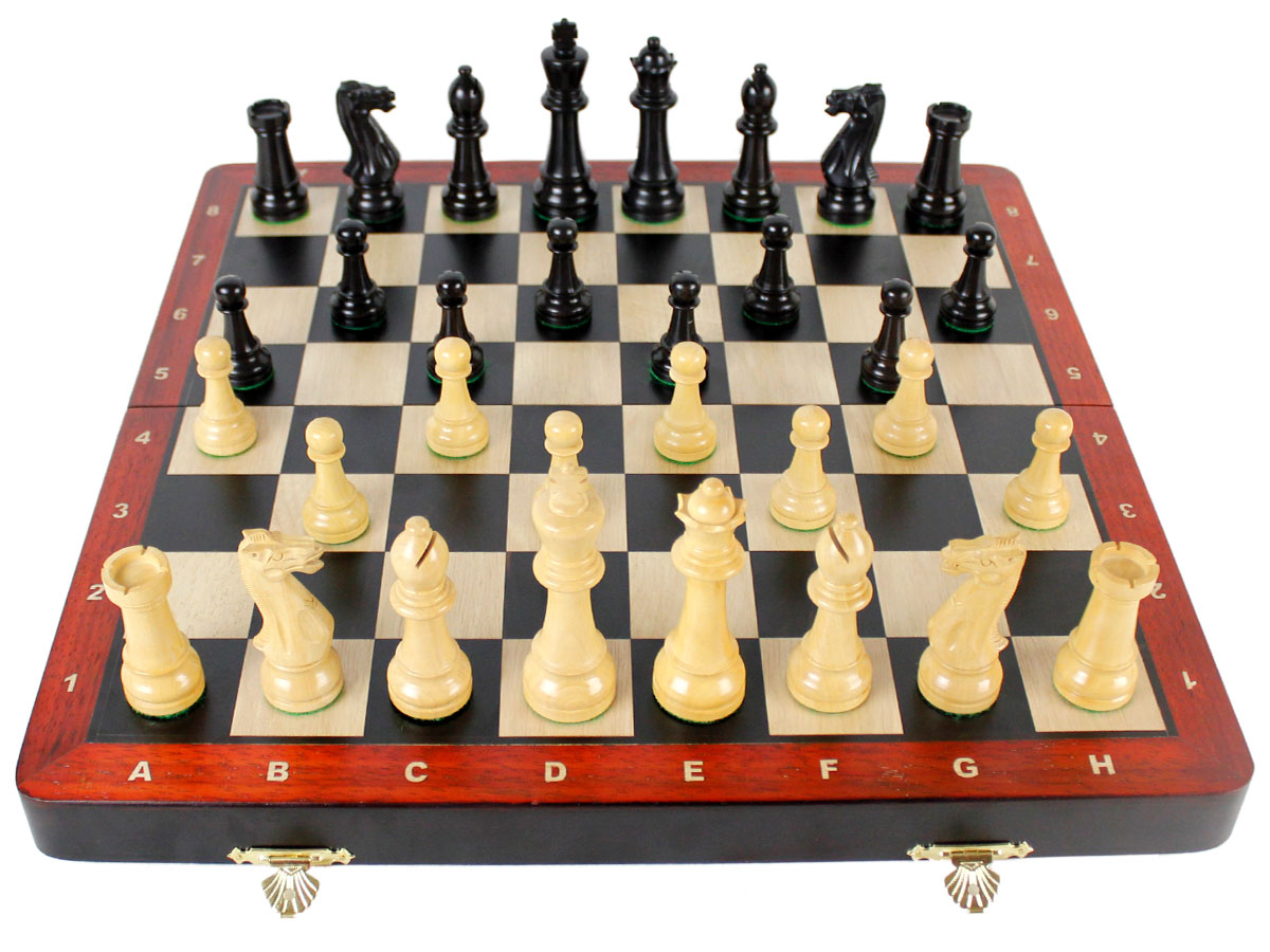 Fully open chess board layout with chess pieces