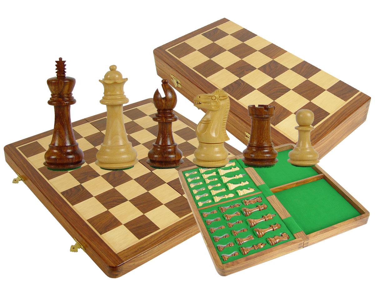 "Folding Chess Set Regal Staunton 3-1/2"" & 16"" Board with Box Golden Rosewood/Maple"