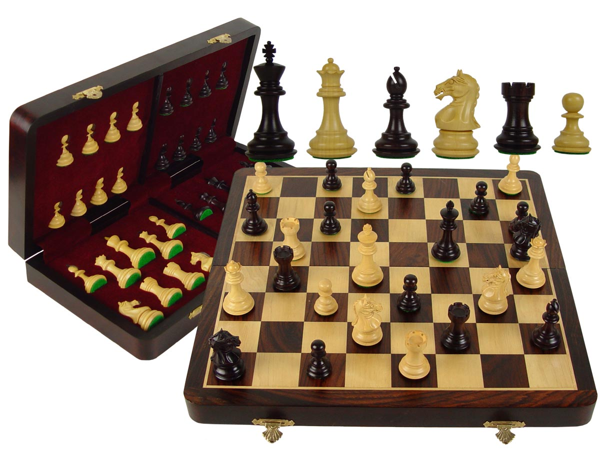 "Fierce Knight Wooden Premier Chess Set Pieces 3"" & 16"" Folding Board/Box Acacia Wood / Maple"