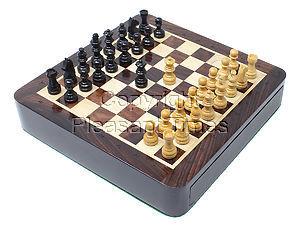 "Travel Magnetic Chess Set 7.5"" with Storage Drawer & Algebraic Notation - 2 Extra Queens in Rosewood/Maple"