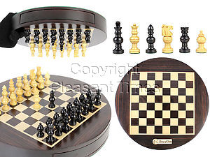 """Magnetic Round Drawer Rosewood Chess Board and Box Dia 9"""" with Globe Chess pieces in Ebony Wood"""