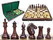 "Rio Staunton Biggie Knight Rosewood 4""  Chess Set - 21""  Folding Chess Board with Algebraic Notation - 2 Extra Queens"
