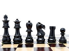 "Ebonized / Boxwood Galaxy Staunton Wooden Chess Set Pieces King Height 3"" - Triple Weighted"