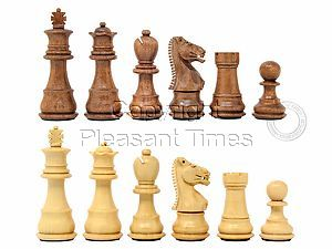 """Ringy Rosewood (Acacia Rhodoxylon) / Boxwood Galaxy Staunton Wooden Chess Set Pieces - King Height 3"""" (76 mm) - Triple Weighted"""