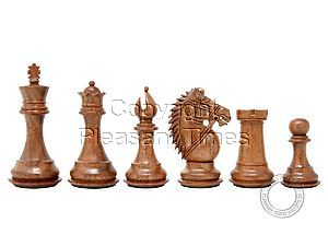 """Ringy Rosewood (Acacia Rhodoxylon) / Boxwood Chess Pieces Rio Staunton - King Height 4"""" (102 mm) - 2 Extra Queens - Triple Weighted"""
