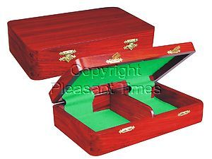 """Wooden Chess Pieces Storage Box for King Size 3-1/2"""" to 3-3/4"""" Mahogany Colored"""